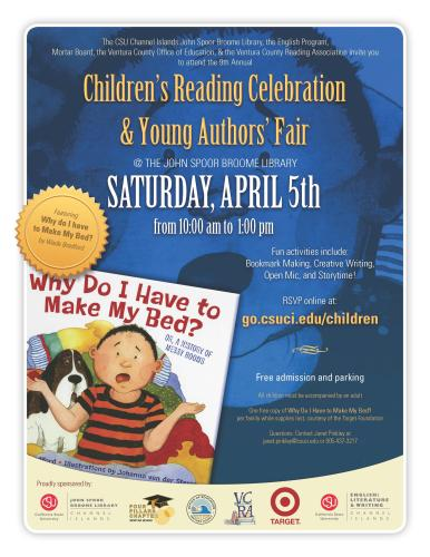 Children's Reading Celebration; Saturday, April 5 from 10:00am to 1:00pm