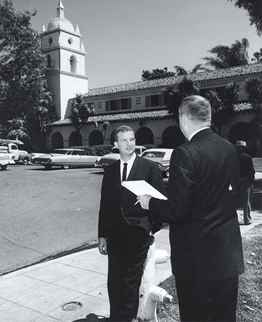 Robert J. Lagomarsino in front of Bell Tower